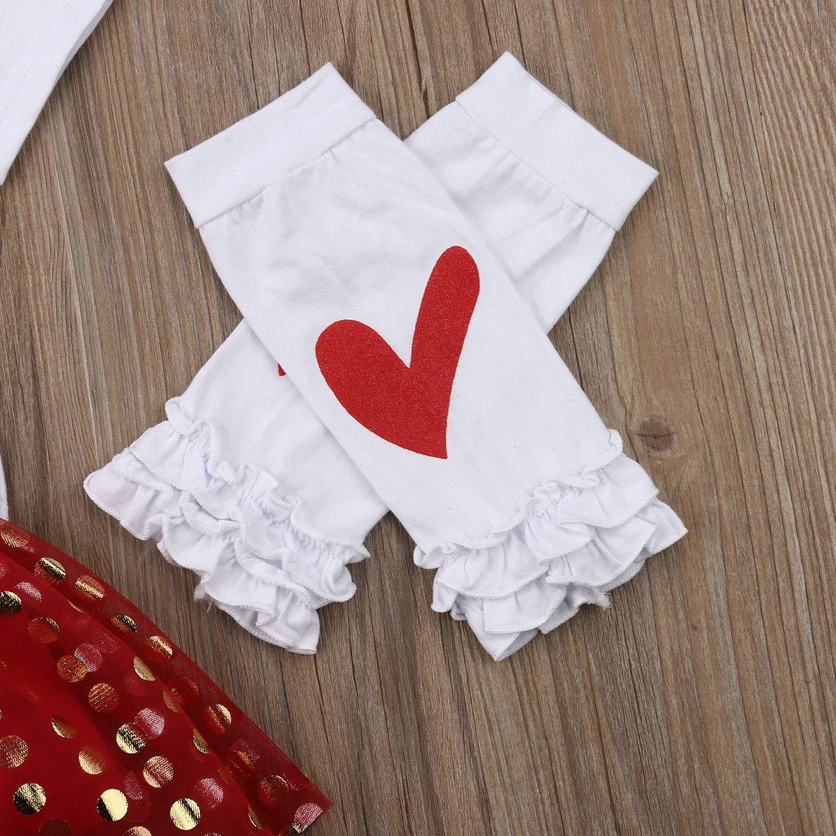 4PCS Newborn Baby Girls My 1st Valentines Day Romper Bodysuit Tutu Skirt Leg Wammer and Headband Girls Princess Party Dress