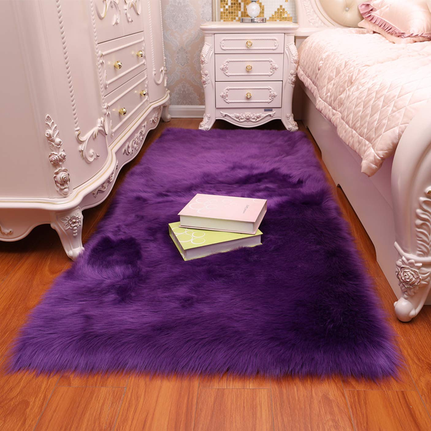 CHITONE Faux Fur Sheepskin Area Rug, Baby Bedroom Rugs Fluffy Rug Home Decorative Shaggy Rectangle Carpet, 2×6 Feet, Purple