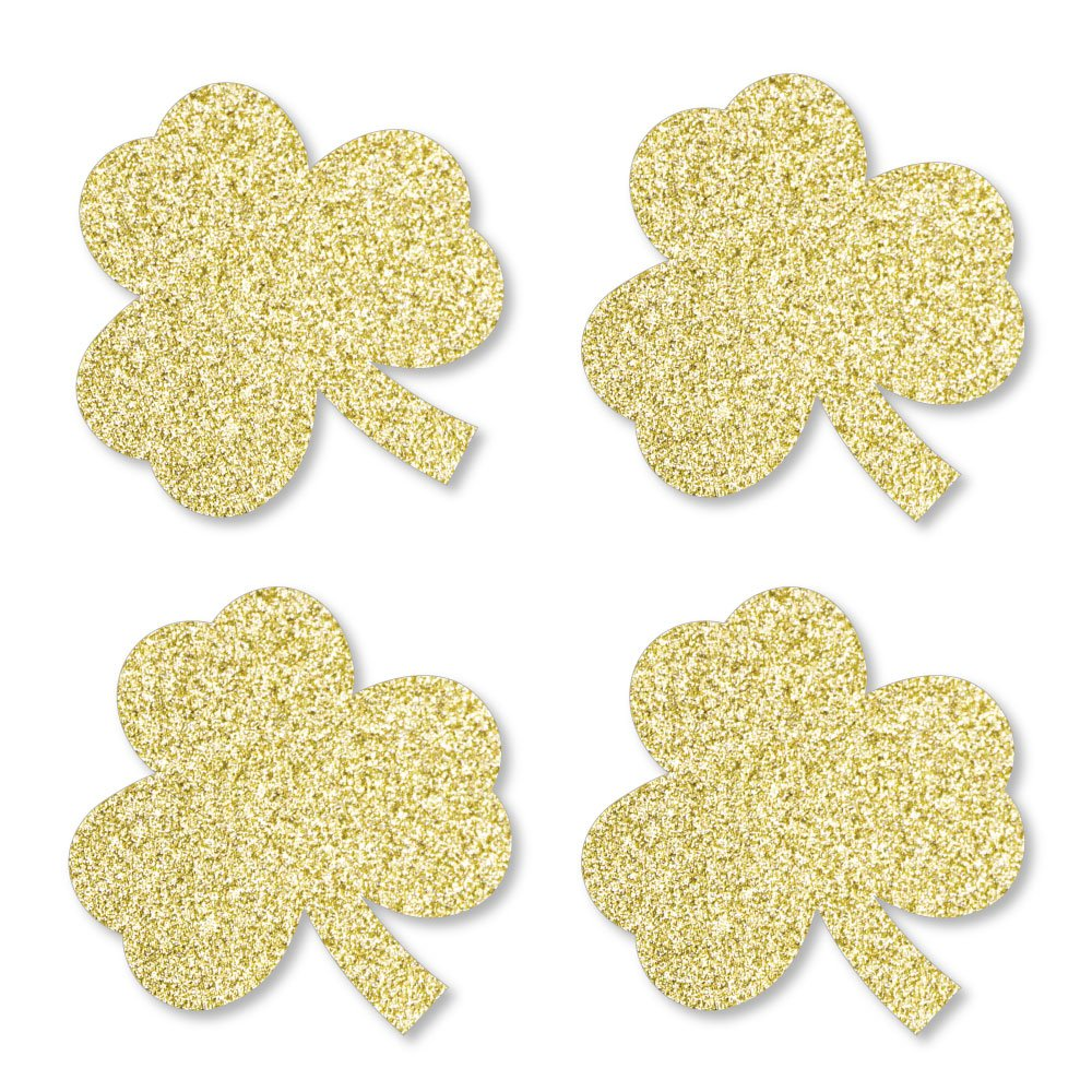 Gold Glitter Shamrocks - No-Mess Real Gold Glitter Cut-Outs - St. Patrick's Day Party Confetti - Set of 24