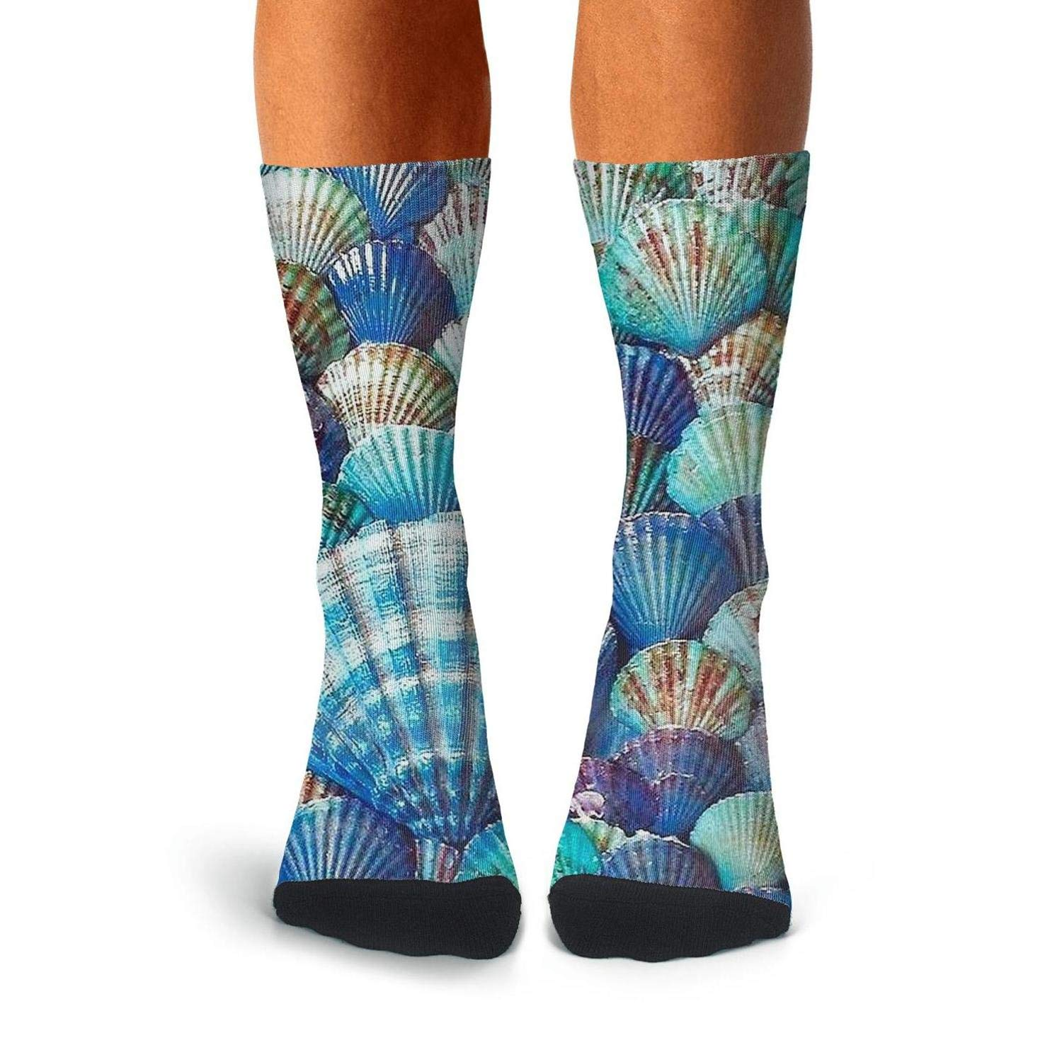 Knee High Long Stockings KCOSSH Arts Blue Shell Crazy Calf Socks Cool Crew Sock For Men