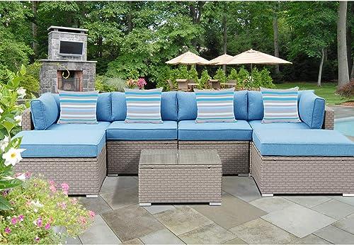 SUNBURY Outdoor Sectional 7-Piece Wicker Sofa