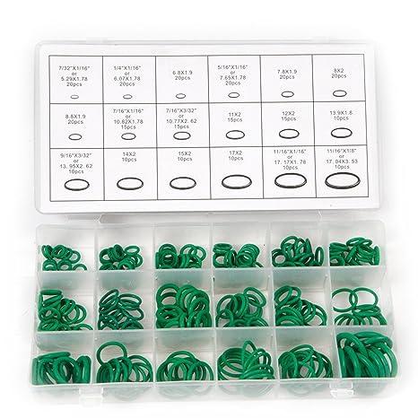 yulakes 270PC verde de goma juntas tóricas Kit rendimiento herramienta con 18 tamaños para aislamiento junta