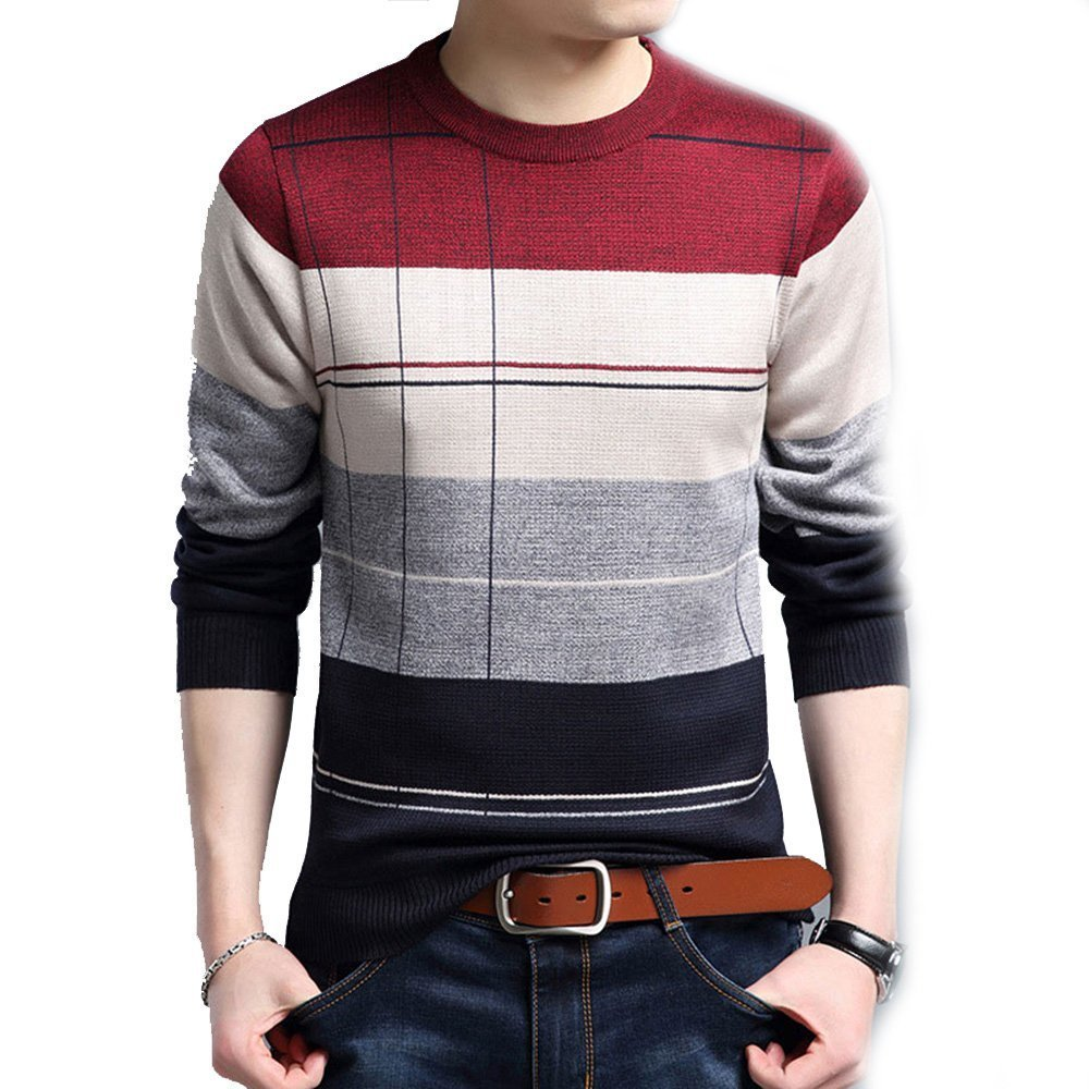 LOG SWIT Social Cotton Thin Men's Pullover Sweaters Crocheted Striped Knitted