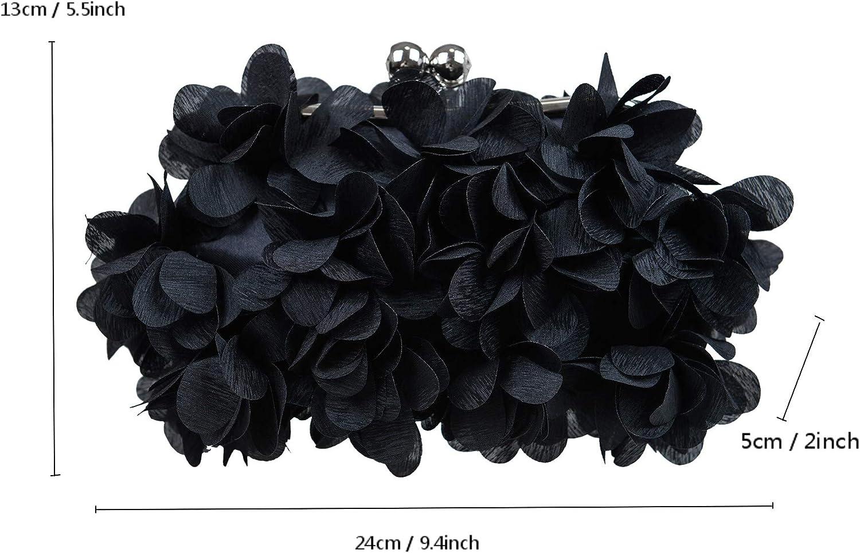 Pétales Décorés Sac de Soirée Pochette Rafinée Pour Cérémonie Cocktail Bal Mariage Femme Noir