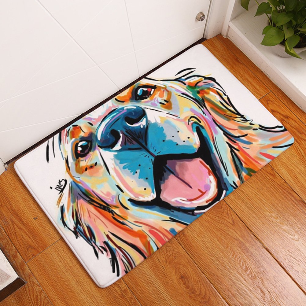 YJBear Thin Colorful Lovely Dog Pattern Floor Mat Coral Fleece Home Decor Carpet Indoor Rectangle Doormat Kitchen Floor Runner 20'' X 31.5''