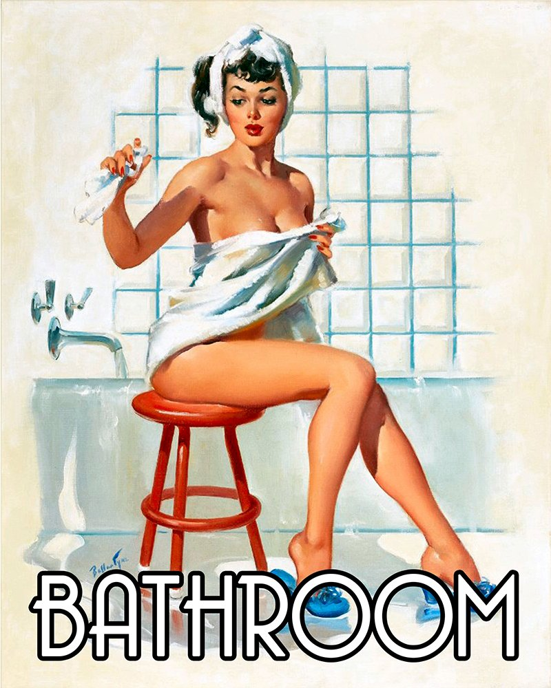 Bathroom Pinup getting in Bath Pin-up Girl 6x8inch METAL Wall Sign Plaque Vintage Retro poster art picture print Chill