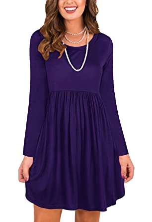 fc5f71b43b LAVENCHY Womens Dress Long Sleeves Casual Skater Tunic Dresses for Women  Purple