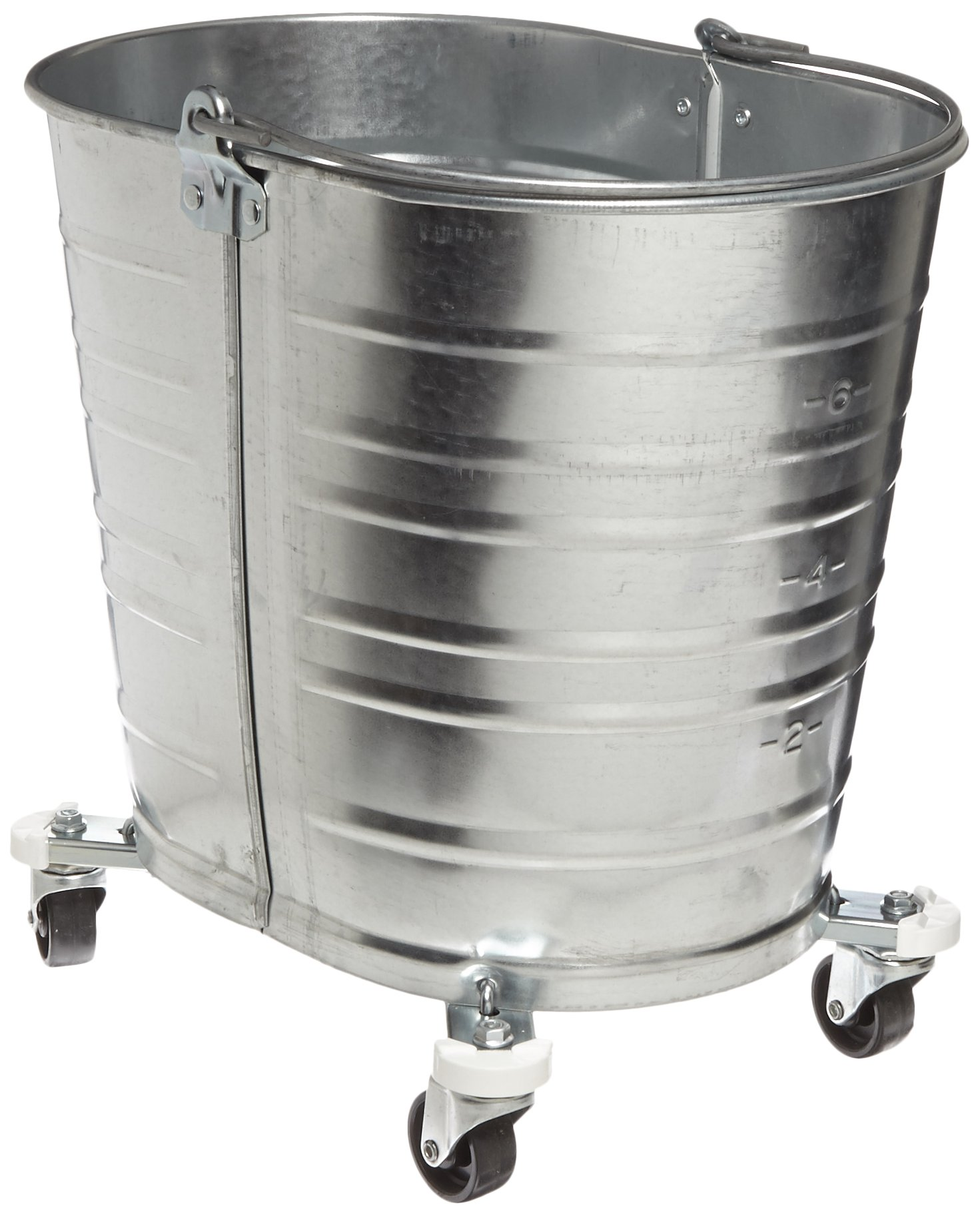 Impact WH350 Oval Galvanized Steel Bucket with 2'' Casters, 35 qt Capacity