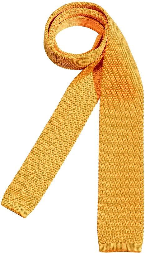 DonDon corbata de punto estrecha de color - amarillo: Amazon.es ...