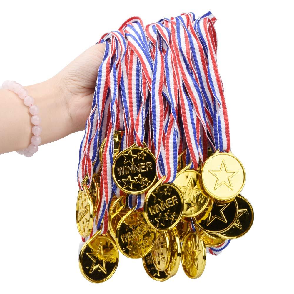 Onepine 150 Pièces Médailles Or en Plastique Medaille pour Enfants Médailles Olympique, Médailles du Parti