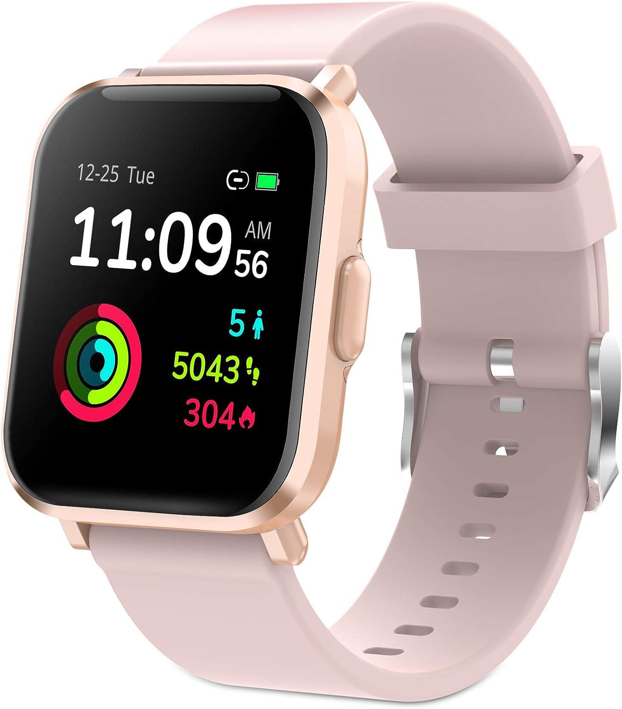 Reloj Inteligente Mujer, GRDE Smartwatch Mujer Fitness 24H Monitor de Oxigeno(SpO2)/Ritmo Cardíaco/Sueño 5ATM Impermeable Reloj GPS Running con 18 Modo Deportivos, Reloj Pantalla Táctil con Podómetro