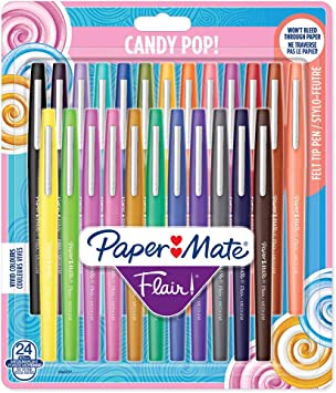 Medium Point 0.7mm Assorted Colors 24 Count Paper Mate Flair Felt Tip Pens