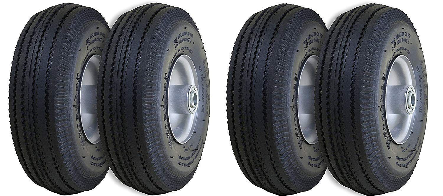 Marathon 4.10/3.50-4'' Pneumatic (Air Filled) Hand Truck/All Purpose Utility Tires on Wheels, 2.25'' Offset Hub, 5/8'' Bearings (2 X Pack of 2) by Marathon Industries