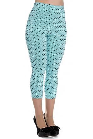 fce467732bc Hell Bunny Blue Kay Polka Dot 50s Vintage Style Capri Trousers 3 4 Pedal  Pushers