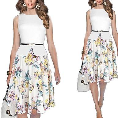 db08b87b058a8 YoungG-3D Womens Summer Belted Print Chiffon Patchwork Tunic Work ...