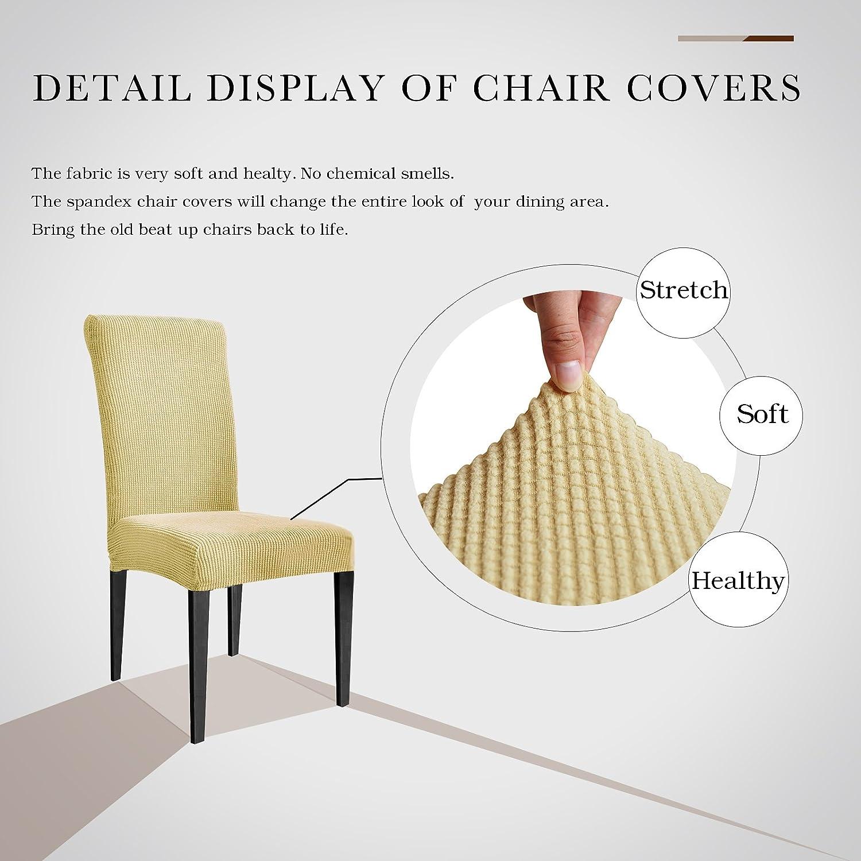 Dyfun Jacquard Spandex Stretch Dining Room Chair Slipcovers 2