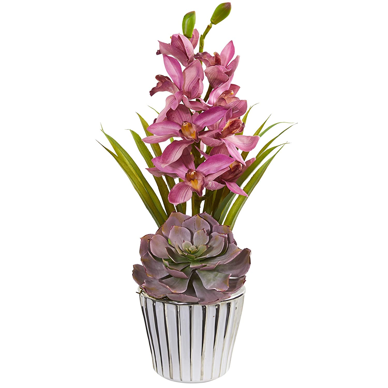 """silk flower floral arrangements 21/"""" Artificial Bromeliad plant"""