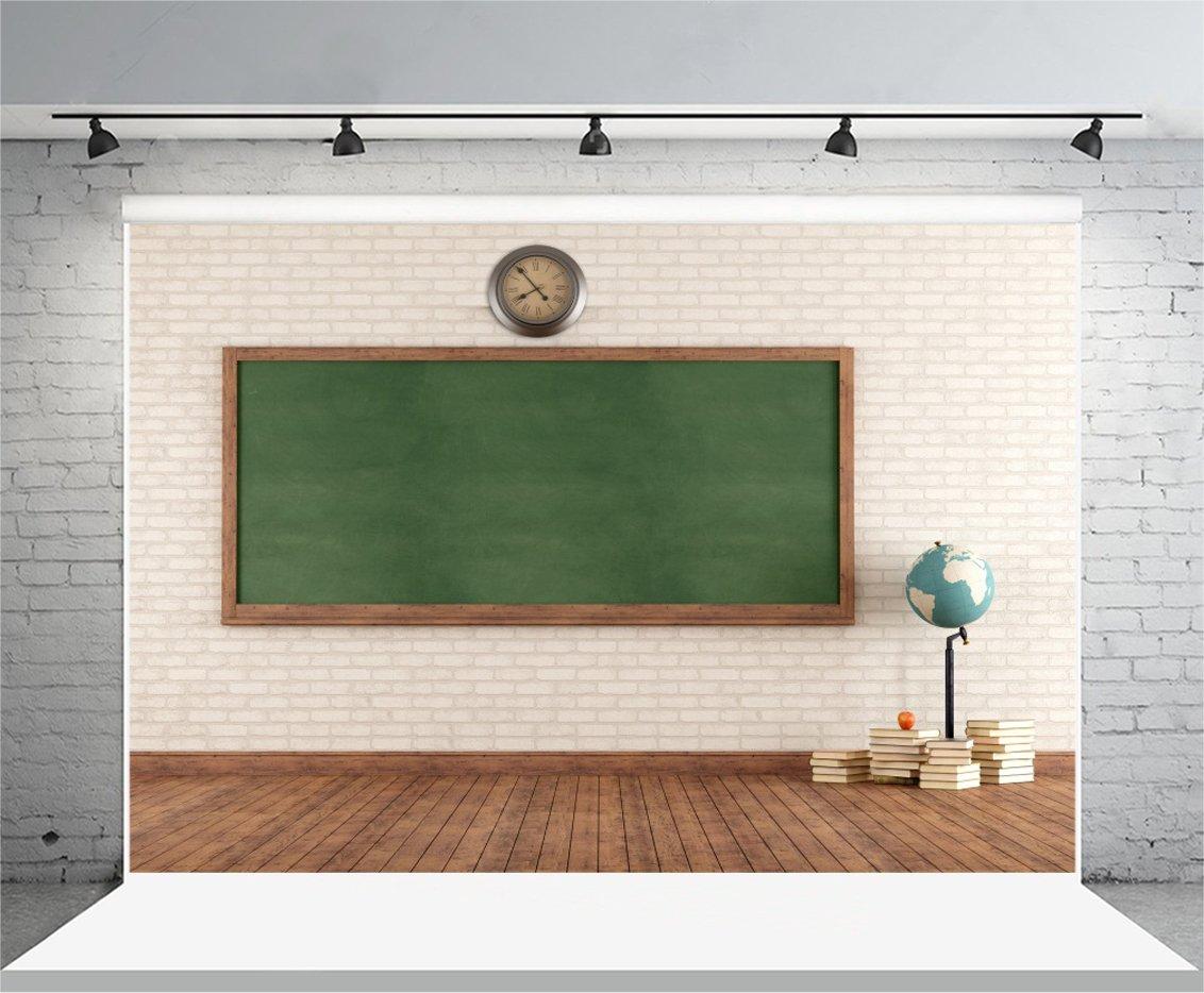 Leyiyi 8x6ft Photography Backgroud Welcome Back to School Backdrop Classroom Blackboard Chalkboard Clock Vintage Brick Wall Wooden Floor Bookpiles Terrestrial Globe Photo Portrait Vinyl Studio Prop