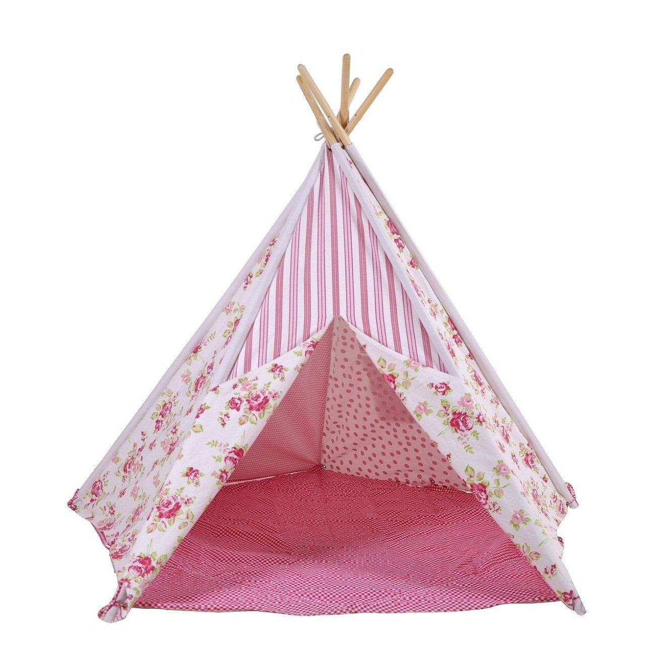 Indianertipi Kinder Teepee Zelt mit Blumenmuster pink/Weiss