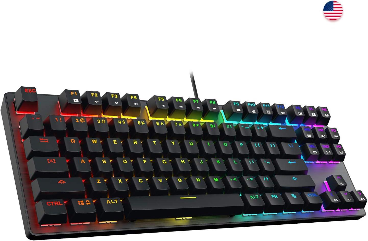 DREVO Tyrfing V2 Customizable RGB Compact 87 Keys Mechanical Gaming Keyboard USB Wired Tenkeyless Programming Macro Media Control Software Support Outemu Brown Switch Black