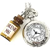 UMBRELLALABORATORY Steampunk Pocket Watch Necklace | Victorian Style, Silver Finish Handmade Kawaii Accessory