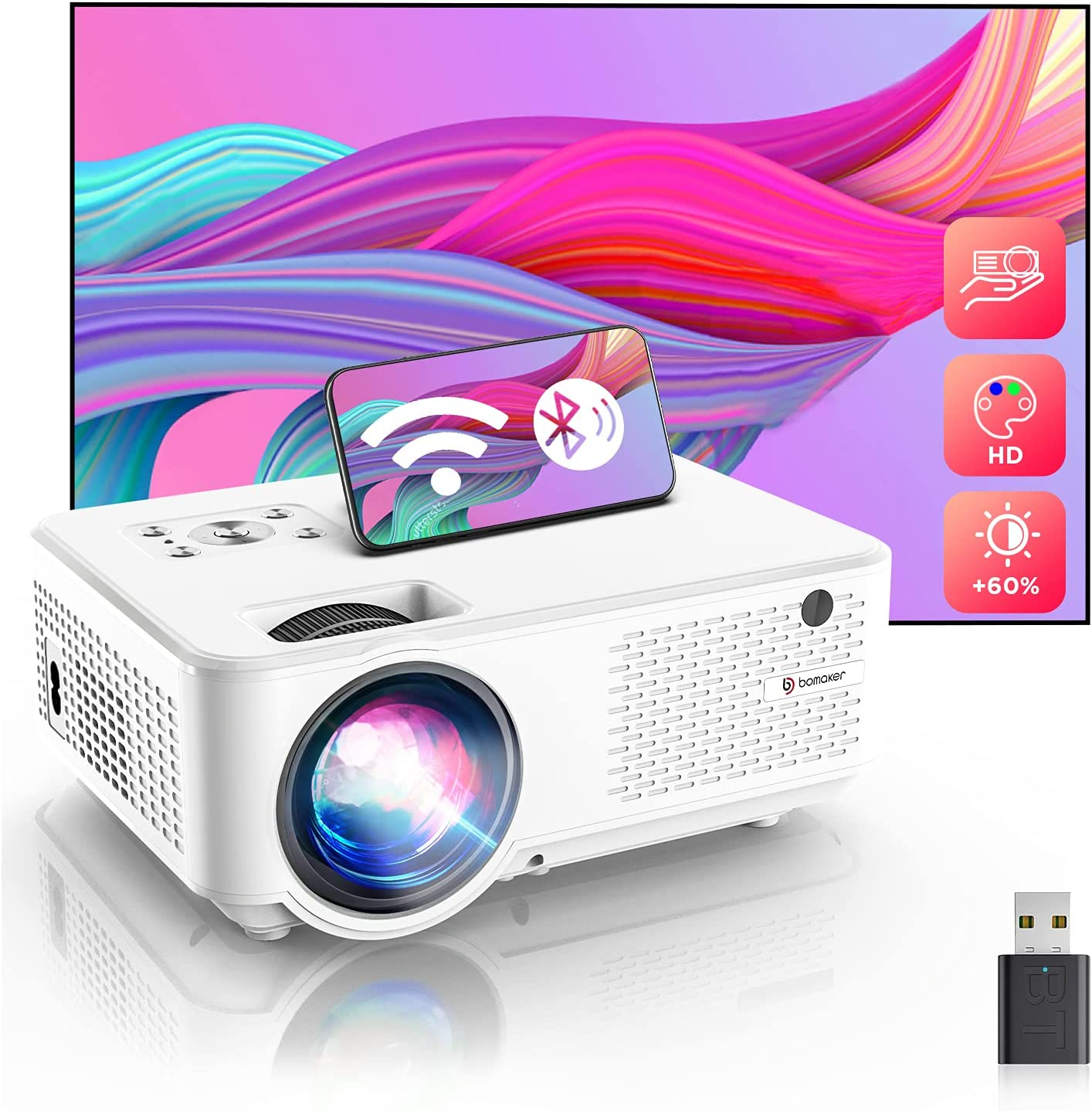 Bomaker WiFi Mini Projector, Full HD 1080p Outdoor TV Projector & 200'' Display Supported, Portable Bluetooth Projector Compatible with iPhone, Tablet, TV Stick, PS4, DVD, Android, Windows, PPT