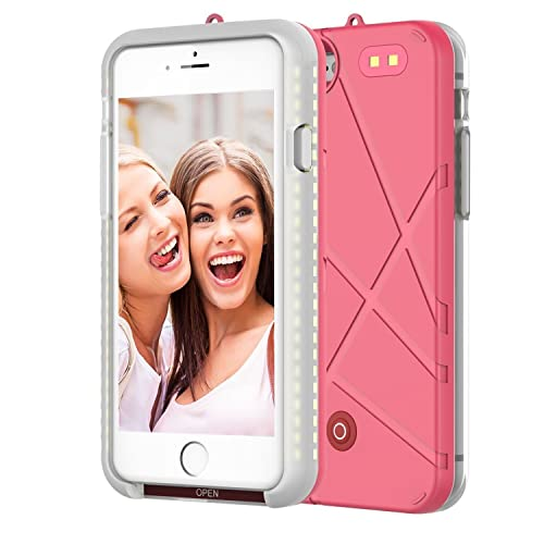 LED Light Up Luminous Selfie Cell Phone Case,Illuminated (Dimmable)Flash Light Battery Charger Case With Rechargeable Backup Power Bank for Apple iPhone 7 plus,iPhone 8 plus 5.5 Inch by ONTA (PINK)