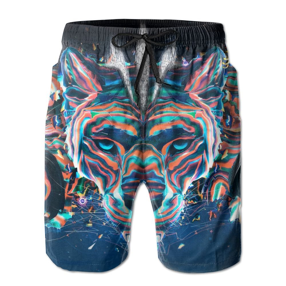 Lisang Mens Mystic Color Tiger Quick Dry Beach Shorts Sports Swim Trunks XX-Large