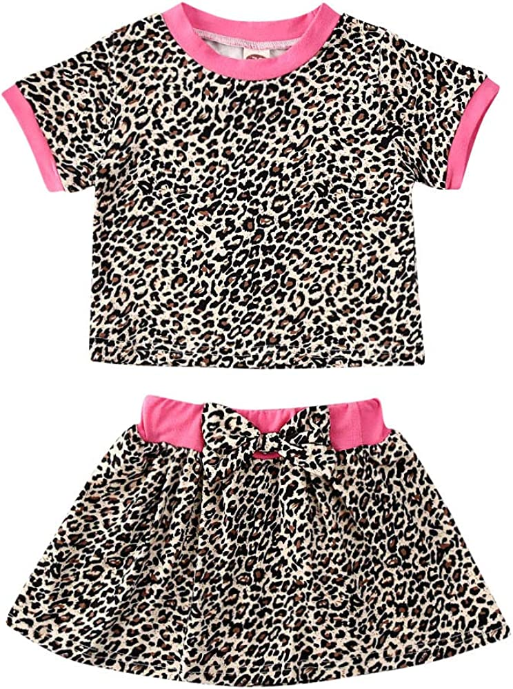 US Fashion Baby Girls Autumn Clothes Lace Tops Leopard Skirt Dresses Outfits Set