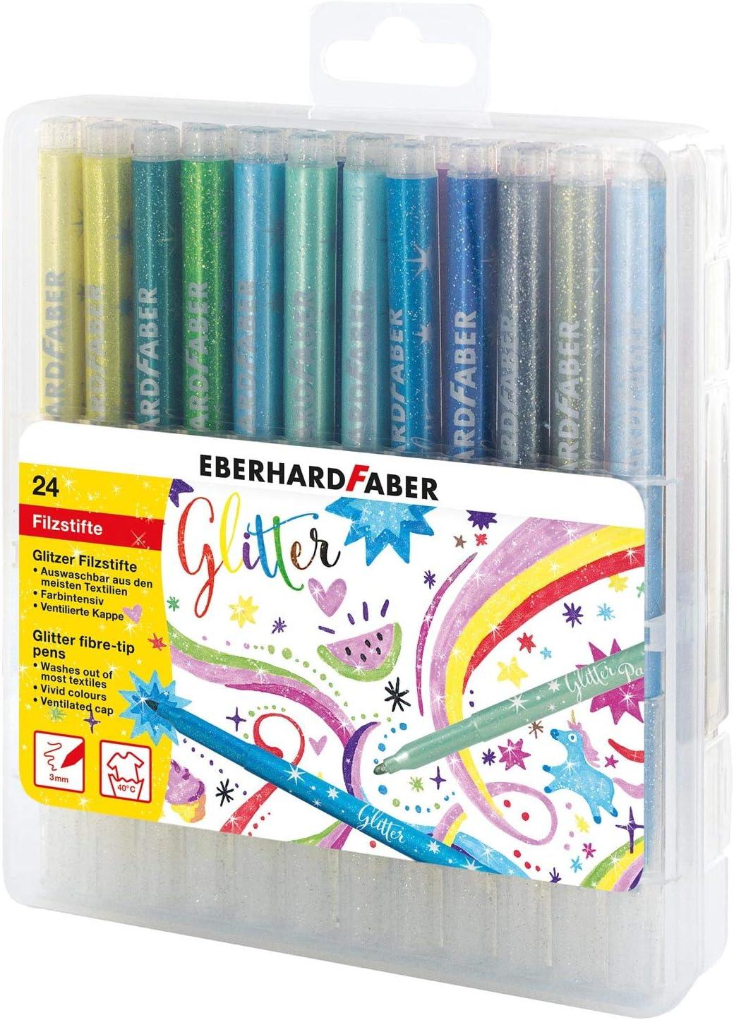 Eberhard Faber- Rotuladores de Fibra con Purpurina en una Caja de Regalo para Dibujar Colores Brillantes Aprox Grosor de Trazo de 3 mm Manualidades y Escribir. 24 Unidades Colorear 551024