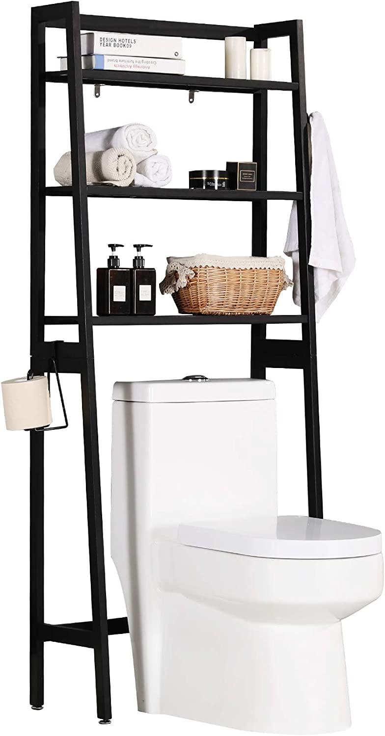 MallBoo Toilet Storage Rack, 3 -Tier Over-The-Toilet Bathroom Spacesaver - 100% Wood and Easy to Assemble