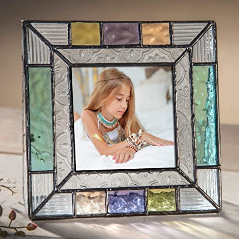 Colorful Glass Picture Frames Square 3x3 Photo Table Top Blue Peach Purple Turquoise Home Decor Family Baby Gift J Devlin Pic 372-33
