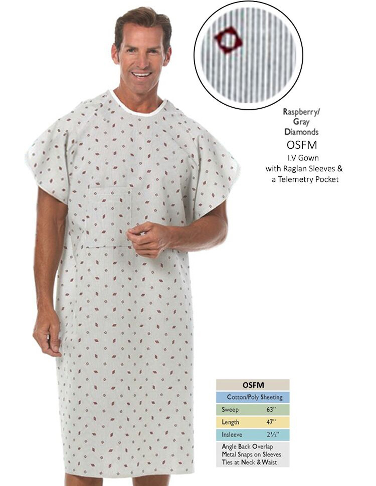 Nobles Health Care Raspberry With Gray Diamond Print IV Angle Back Hospital Gown Pack 4