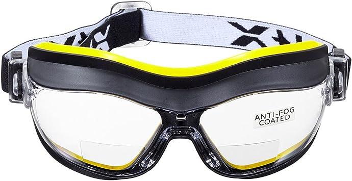 RAUCHGRAUE +2.0 Dioptrie Bifocal Safety Glasses CE EN166F Zertifiziert//Sportbrille f/ür Radler enth/ält Sicherheitsband Sicherheitsetui voltX /'Constructor/' BIFOKALE Schutzbrille mit Lesehilfe