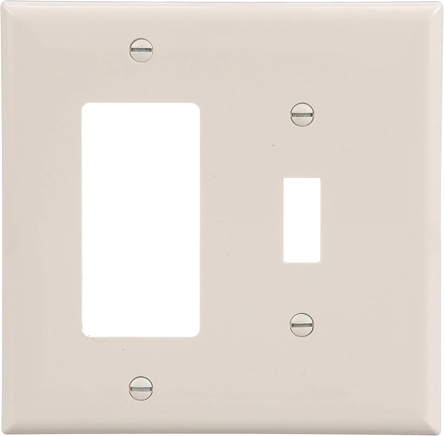 Eaton Wiring Pj126la Sp L 2 Gang Toggle And Decorator Mid Size Wall Plate Light Almond Switch Plates