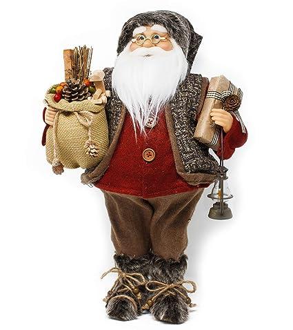 Babbo Natale 40 Cm.Joy Christmas Babbo Natale Con Musica E Movimento 45 Cm Con Sacco Doni