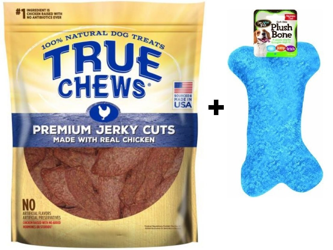 True Chews''The Original'' Chicken Jerky Fillets in Re-sealable Pouch, 22-Ounce and Bow Wow Plush Squeaky Bone Toy Bundle by True Decor (Image #1)