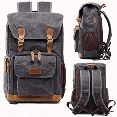 RAINED-Camera Backpack Hot Premium Vintage Photography Backpack Waterproof Photography Canvas Bag Cover