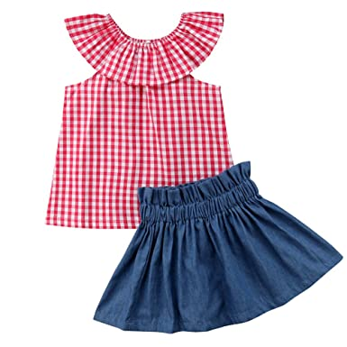 ff06fecdae6bd4 Toddle Baby Girl Kids Ruffle Round Collar Plaid Tops + Ruffle A-line Denim  Skirt