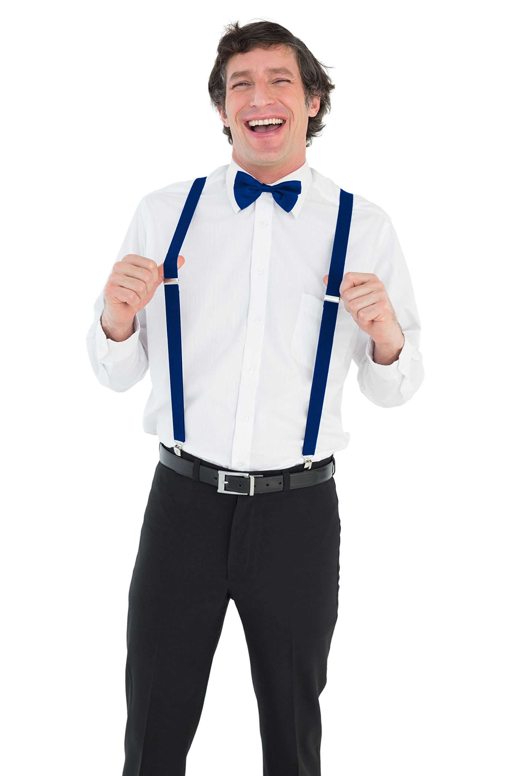 Y-Back Suspenders and Bow Tie Matching Set, Pre-Tied, Clip Design, Elastic, Adjustable Straps, Classic   Great for Weddings,Parties,Graduations, Theme Party   Nice&Unique Gifts for Men (Royal Blue) by Coster (Image #3)