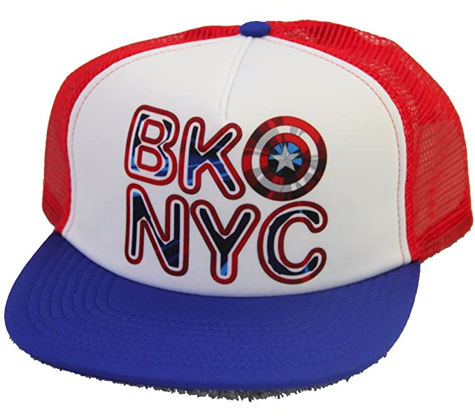 Marvel Captain America Brooklyn SnapBack Trucker Hat Cap RED BLUE at ... 117717d901e