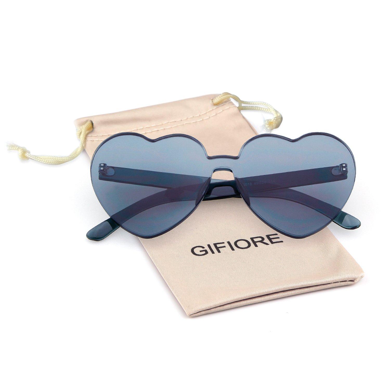 ef30ea52c5e Amazon.com  Heart Shape Rimless Sunglasses One Piece Transparent Candy  Color Eyewear (Gray