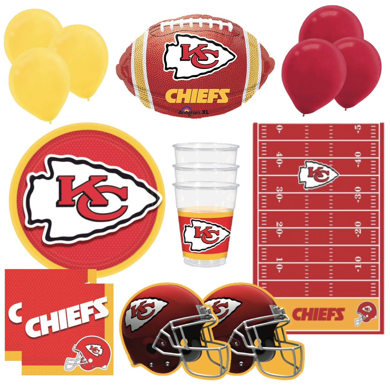 Chiefs Football Party Supplies & Decorations Pack Paper Plates, Napkins, Plastic Cups, Helmet Cutouts, Red & Yellow Balloons, Kansas City Football Shaped Balloon, Table Cover