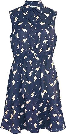 LaVieLente Customized Sleeveless Shirt Dress Sloth Dress Fox Dress Dog Dress Above Knee Length w//Stretchable Waist Design