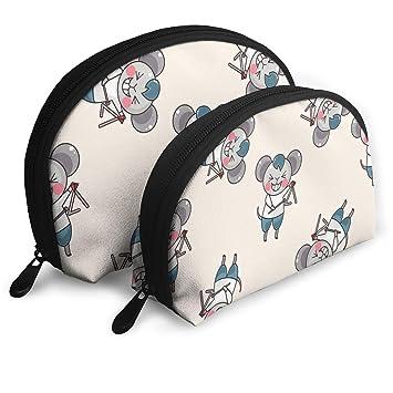 Amazon.com : Makeup Bag Cute Mouse Portable Half Moon Travel Bags Set Storage For Women, Girls 2 Piece : Beauty