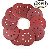 WeeDee Lot de 100 disques de ponçage disque abrasifs pour ponceuse excentrique Ø 125 mm grain abrasif de 40/60/80/100/120/180/240/320/400/800 (10 disques à poncer par taille de grain)