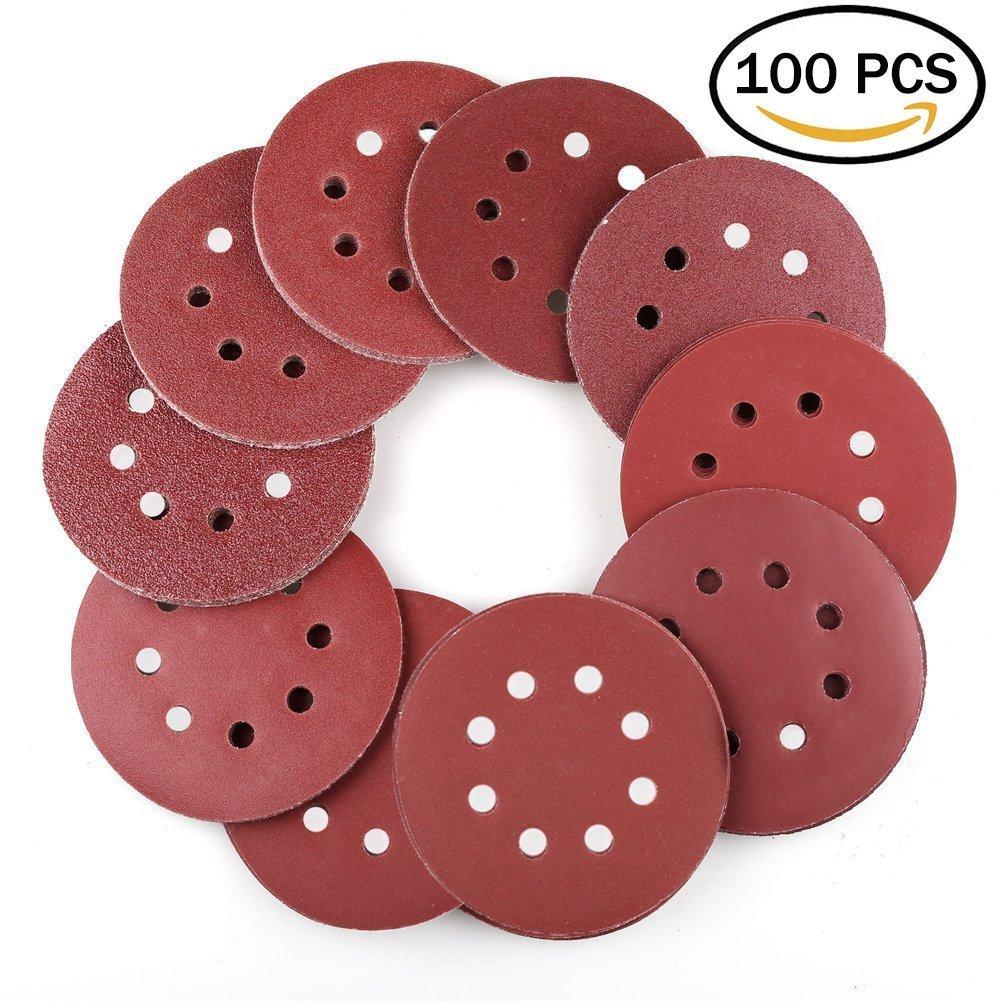 WeeDee Sanding Discs Pads - 125mm / 5 Inch 8 Hole - 100PCS 40/60/80/100/120/180/240/320/400/800 Grit Assorted Random Orbital Sander Round Sandpaper