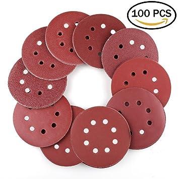 Discos de lija lijar lijas de pulir Disco de papel para lijadoras excéntricas - ø 125 mm 8 agujeros - 100 Pieza Grano cada 10 x ...