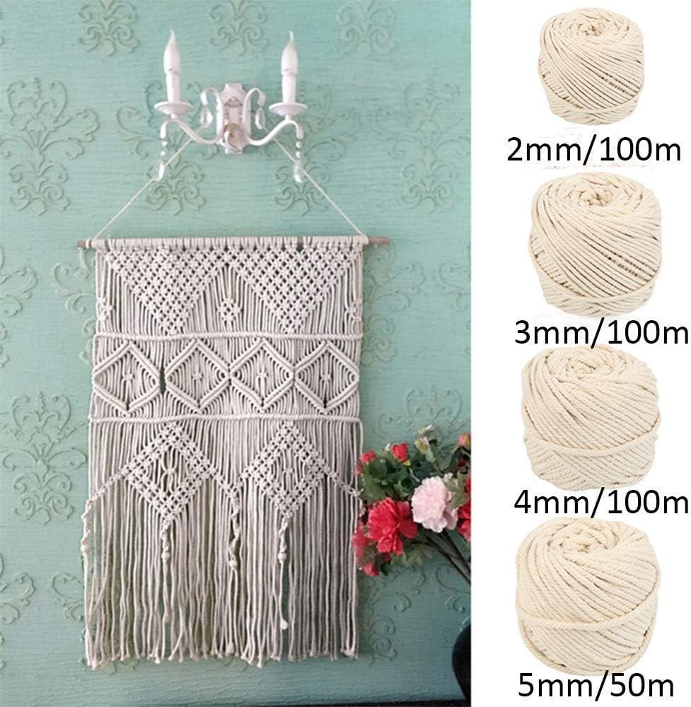 Cuerda en macramé algodón Cordons Cordel 100% Natural Beige algodón cordón torsadé Artisan DIY Artesanía, algodón (4mm/100m): Amazon.es: Hogar