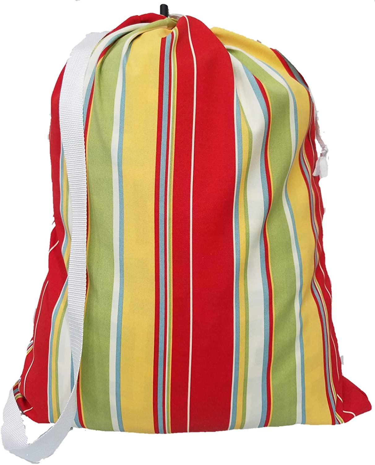 """Owen Sewn Summer Stripe Polyester Laundry Bag 22""""x28"""" with Shoulder Strap - Made in USA"""